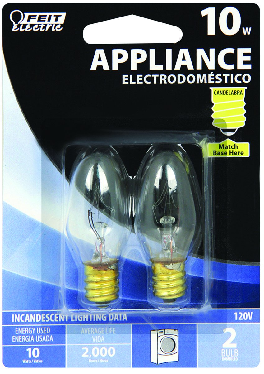 10-Watt C7 Appliance Incandescent Light Bulb (2-Pack)-Feit Electric-BP10C71/2/RP