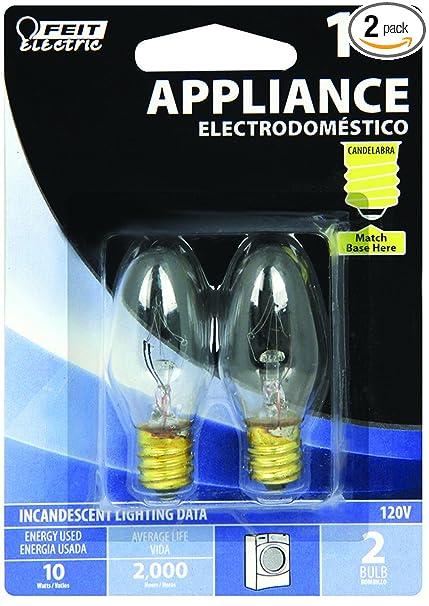 10-Watt C7 Appliance Incandescent Light Bulb (2-Pack)-Feit  Electric-BP10C71/2/RP