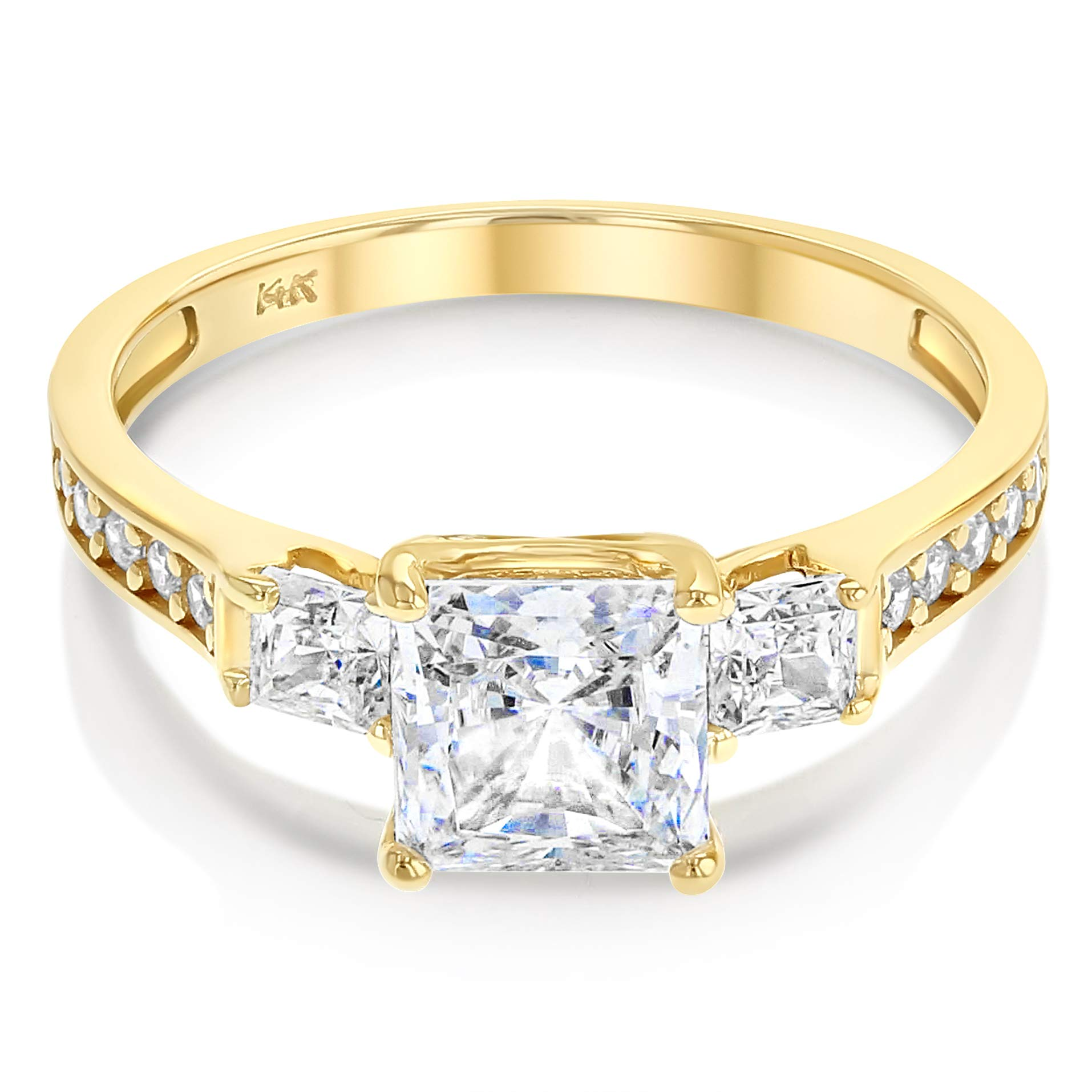 Ioka - 1.5 Ct. Cubic Zirconia CZ 3 Stone Princess Cut Engagement Ring Solid 14K Yellow Gold With Stones in Band - Size 6.5 - Size 6.5