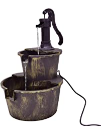 Giantex 2 Tier Barrel With Pump Water Fountain Outdoor Garden Decorative  Waterfall Fountain W/