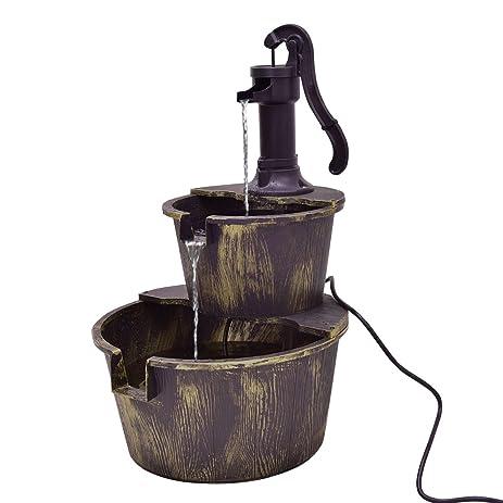 Giantex 2 Tier Barrel With Pump Water Fountain Outdoor Garden Decorative  Waterfall Fountain W/