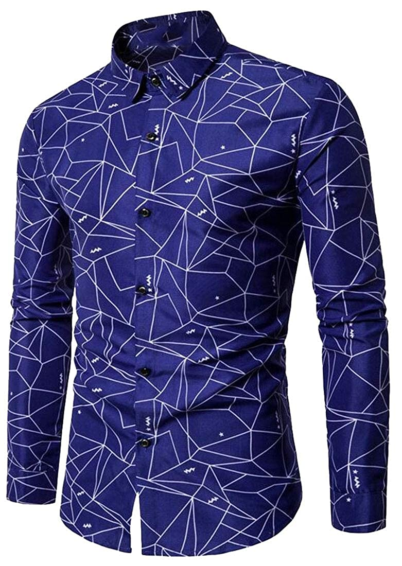 KLJR Men Casual Button Down Geometric Print Long Sleeve Slim Dress Shirt