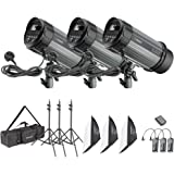 Neewer 900W Studio Strobe Flash Photography Lighting Kit:(3)300W Monolight,(3)Softbox,(3)Light Stand,(1)RT-16 Wireless Trigger,(1)Carrying Bag for Video Portrait Location Shooting(N-300W)