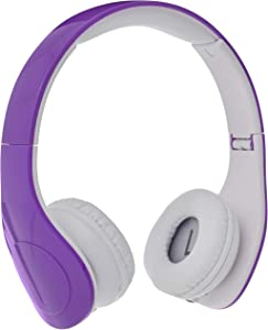 AmazonBasics Volume Limited Wired Over-Ear Headphones for Kids with Two Ports for Sharing, Purple
