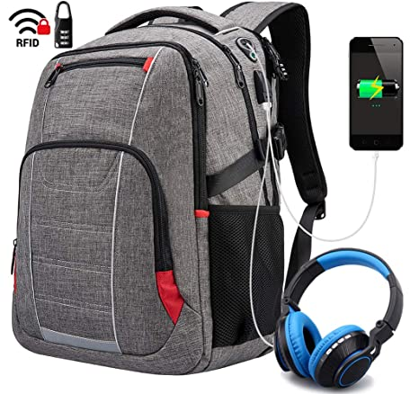 Netchain Mochila Portatil 17 Pulgadas Impermeable Puerto USB,Mochila para Portátiles Escolares,Trabajo Ordenador
