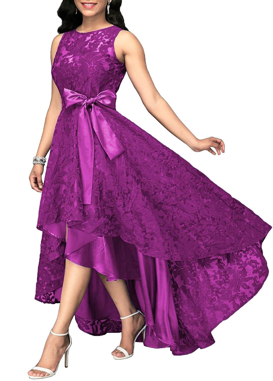 Purple Women's Vintage Floral Lace HiLo Formal Cocktail Prom Party Dress