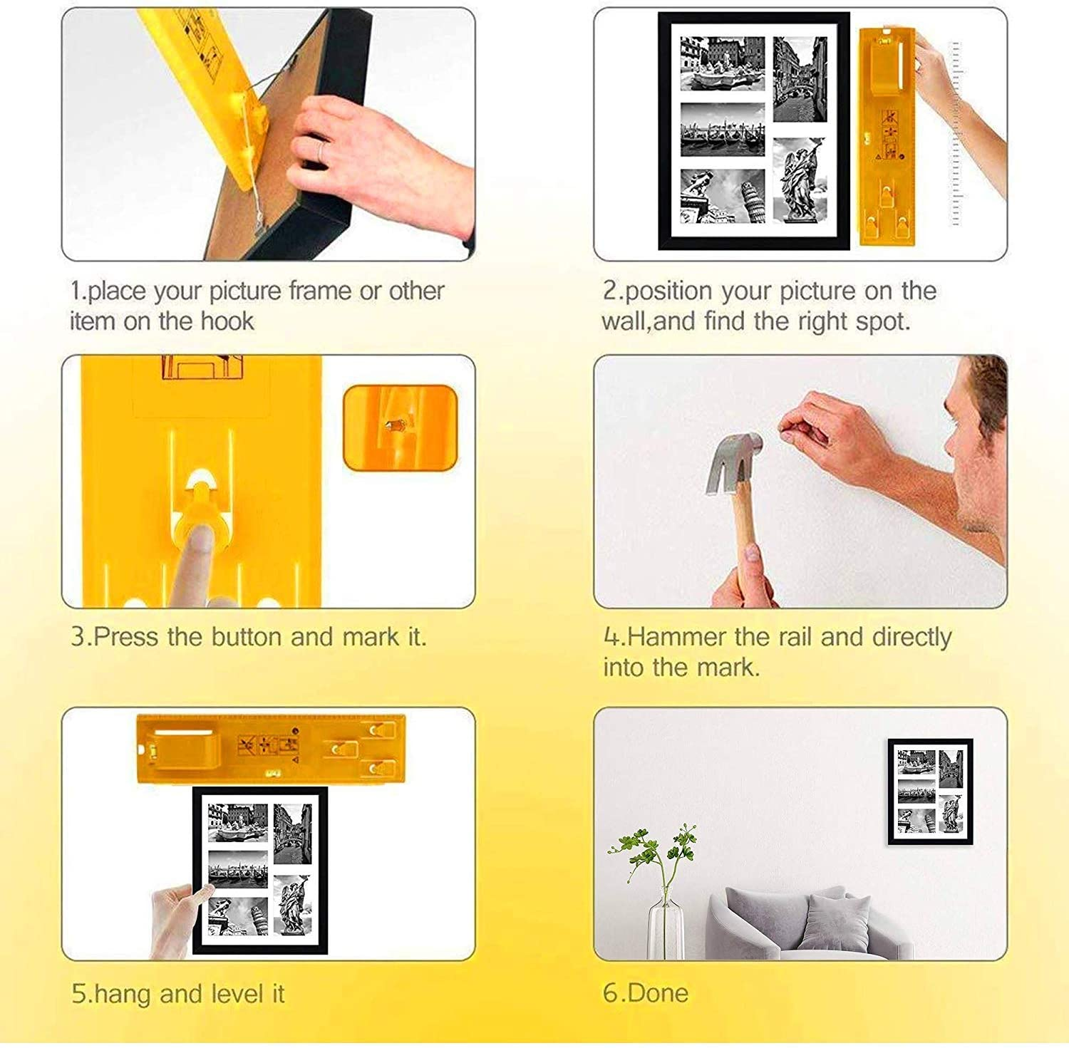 Mirrors and Watches Picture Hanging Tool with Spirit Level Aweohtle Picture Frame Tool for Marking and Measuring Picture Frame Ruler for Marking Position Perfect for Hanging Pictures