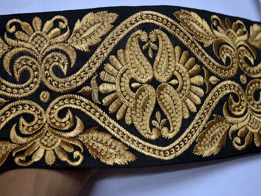 Beautiful Decorative Floral Design Fancy Silk Fabric Embroidery Black and Gold Embellishment 6 Inch Wholesale Heavy Garments Accessories Trim by 9 Yard for Wedding Wear Gown by Generic
