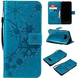 Galaxy S8 ケース CUSKING 手帳型 ケース ストラップ付き かわいい 財布 カバー カードポケット付き Samsung ギャラクシー S8 マジックアレイ ケース - ブルー