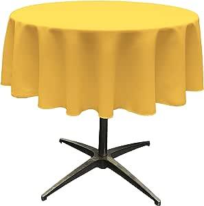 "LA Linen Polyester Poplin Round Tablecloth, 58"", Yellow Dark"