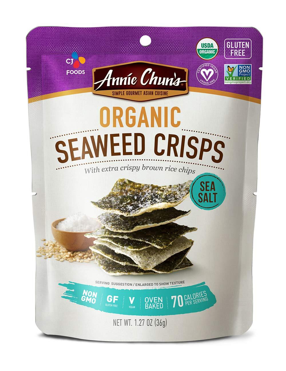 Annie Chun's Organic Seaweed Crisps, Sea Salt, Non-GMO, Gluten-Free, Oven-Baked, 1.27-Oz (Pack Of 10), Sea Salt, 10Count