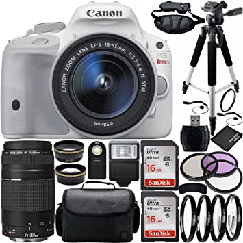Canon EOS Rebel SL1 la cámara réflex digital (blanco) Bundle con ...