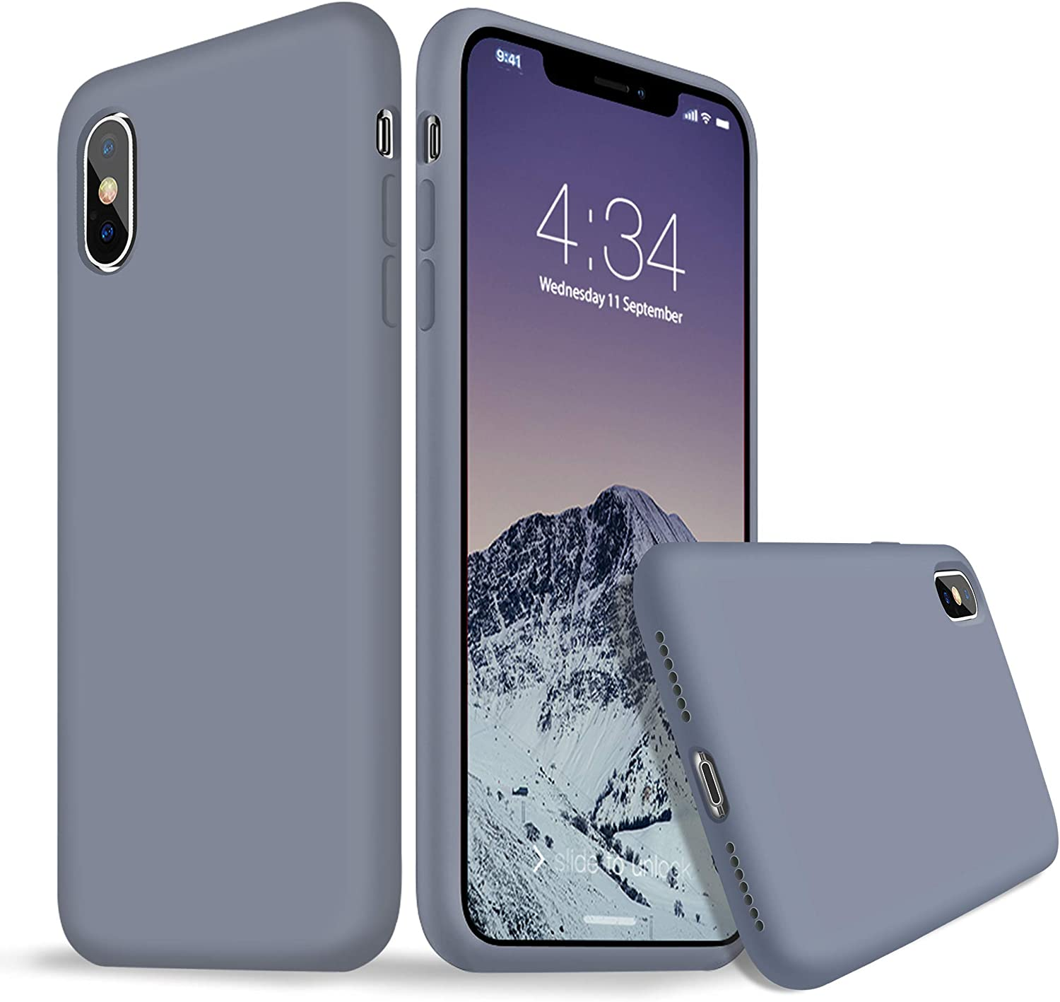 iPhone X Case, iPhone X Silicone Case, Xperg Slim Liquid Silicone Gel Rubber Shockproof Case Soft Microfiber Cloth Lining Cushion Compatible with Apple iPhone X XS 10 5.8 inch (Lavender Gray)