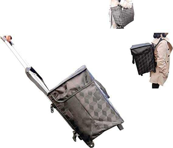 LIGHTWEIGHT FOLDING SELF COLOURED 2 WHEEL SHOPPING TROLLEY BAG WITH FRAME