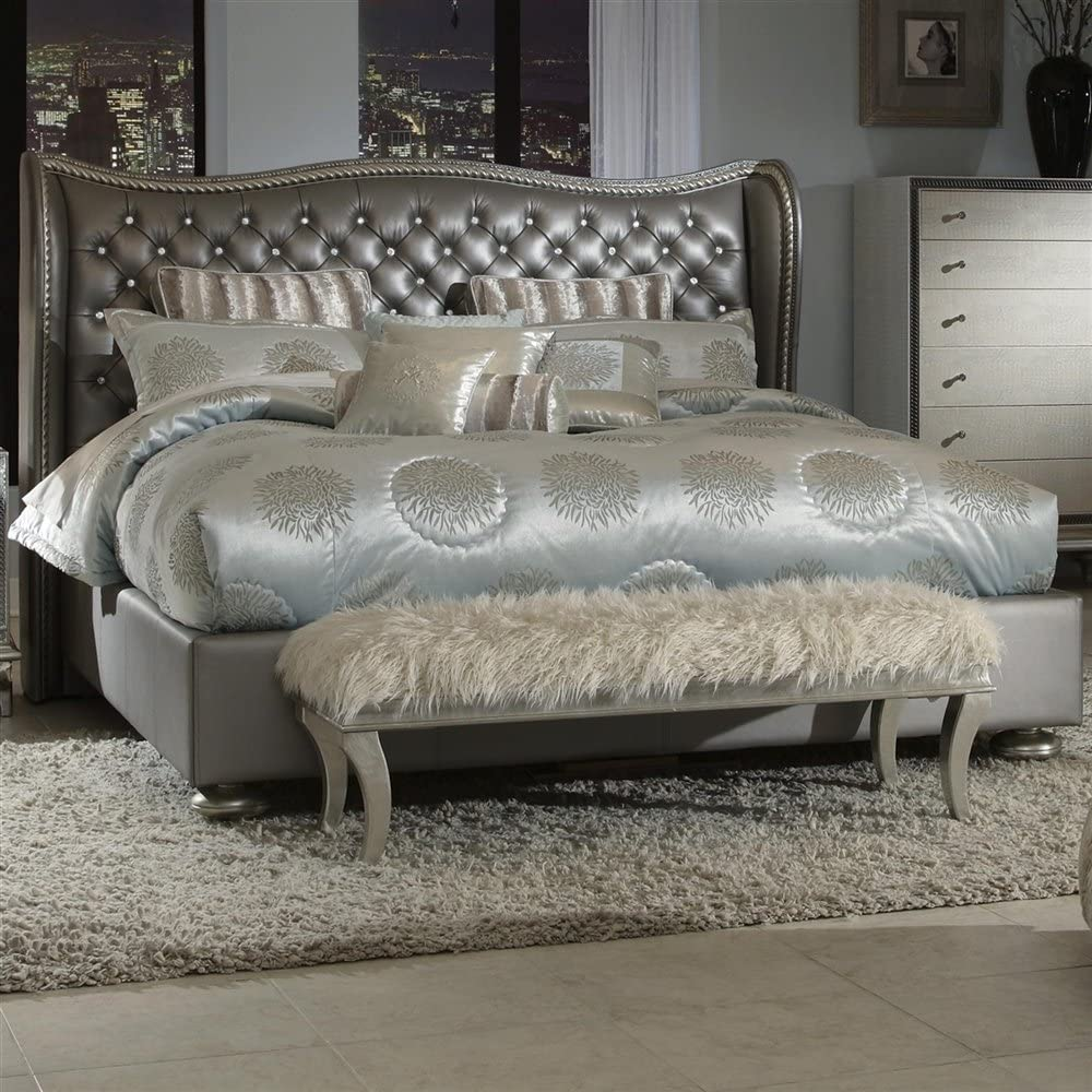 Hollywood Swank Eastern King Graphite Leather Bed By Aico Amini