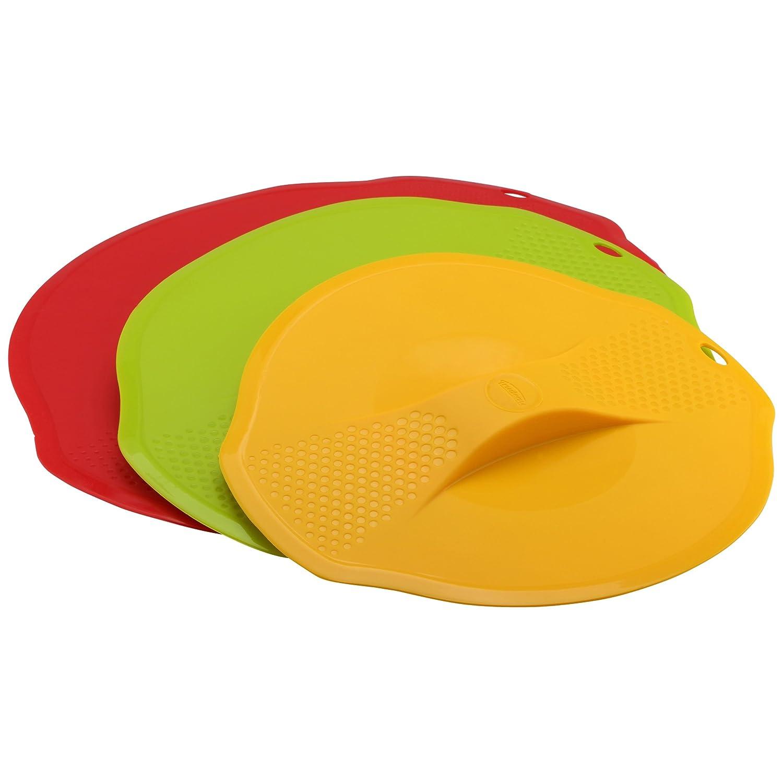 Trudeau Maison Tapas de Silicona, Set de 3 Unidades de Diferentes tamañ os, Rojo, Amarillo y Verde, 27 cm Set de 3 Unidades de Diferentes tamaños SET0519077TRUD