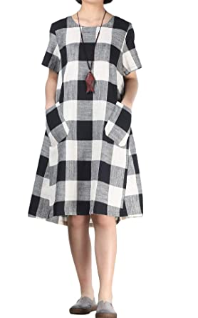 3f242a8ff89 Mordenmiss Women s Cotton Linen Dress Large Checked Plaid Shirt Dress with  Pockets (M