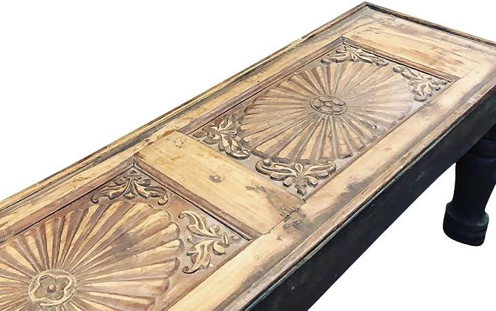 Mogul Interior Antique India Bajo Chai Mesa de Centro Tallada a ...