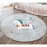 GWELL Süß Tier Motiv Fußmatten Runde Teppich Kinderzimmer Weich Plüsch Anti-Rutsch Kinderteppich für Schlafzimmer Wohnzimmer Schaukelpferd 100 x 100 cm