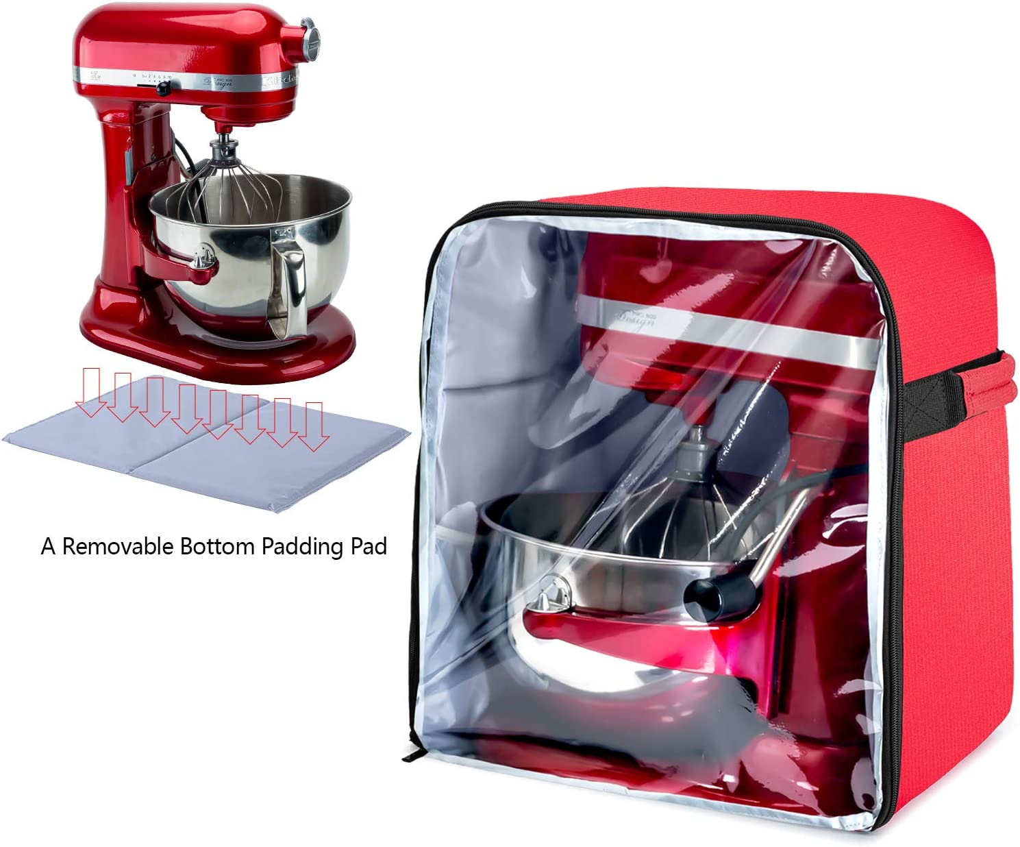Luxja Dust Cover for 6-8 Quart KitchenAid Mixers (with a Bottom Padding Pad), Dust Cover (Clear Front Panel) for Stand Mixers and Extra Accessories, Red (Patent Pending)