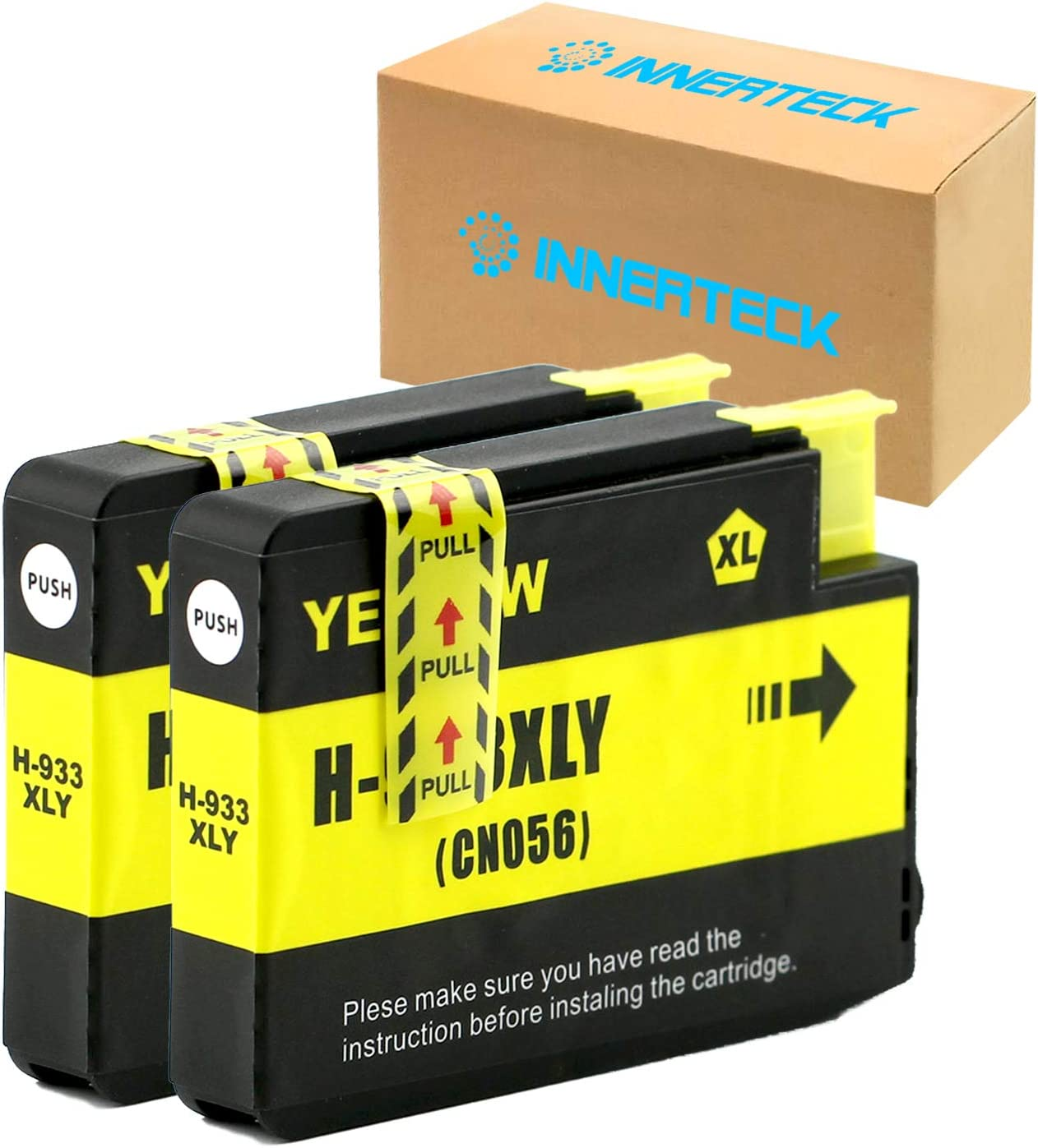 InnerTeck 2 Yellow Compatible Ink Cartridges Replacement for HP 933 933XL Officejet 6700 6600 Ink Cartridges High Yield Works with Officejet 6100 6600 6700 7510 7612 7610 7110 7512 Printers