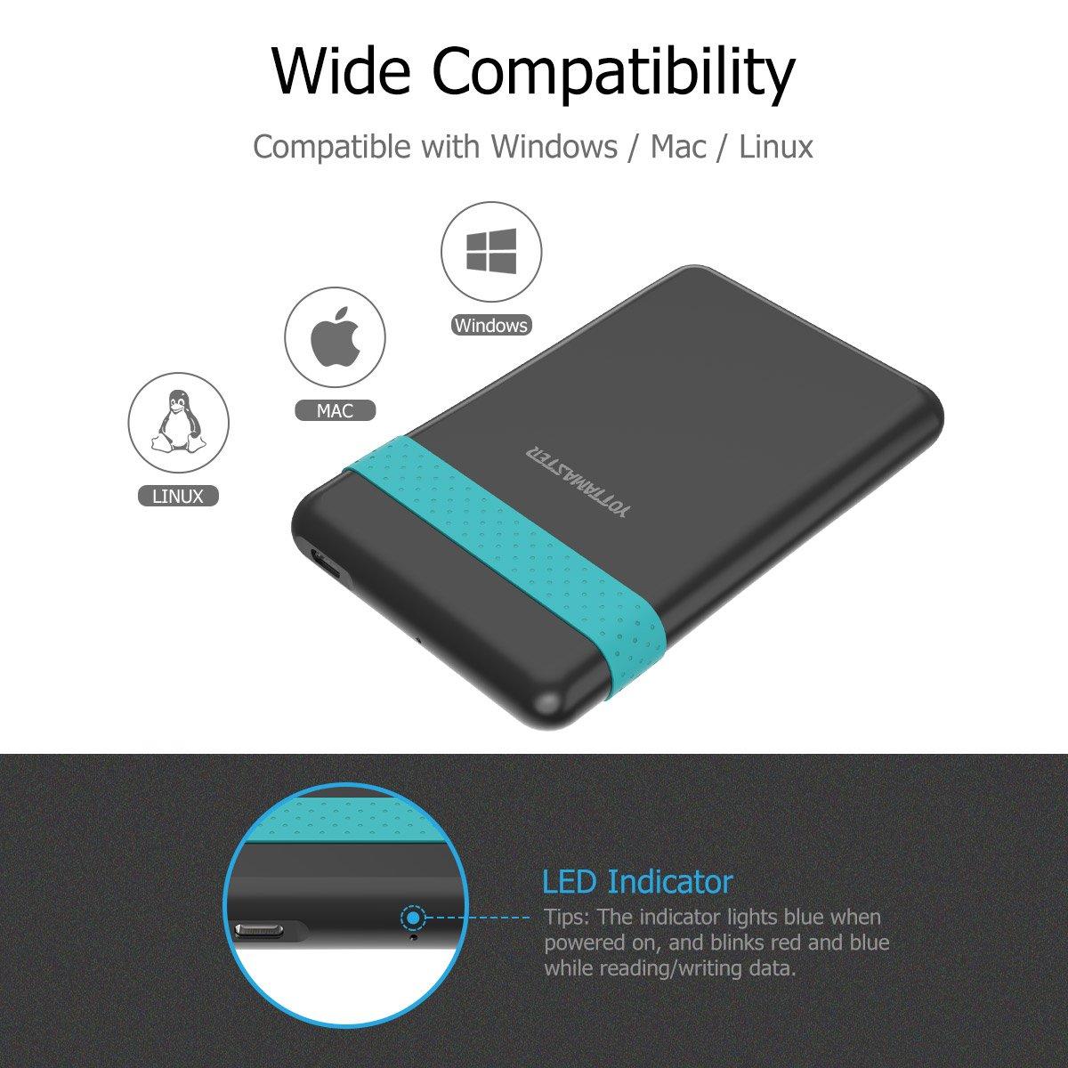Supporto 2TB e UASP A5-U3 Yottamaster Tool gratuito USB3.0 Micro B a SATA III da 2,5 Enclosure per disco rigido esterno per disco rigido SATA//SSD -Nero e argento