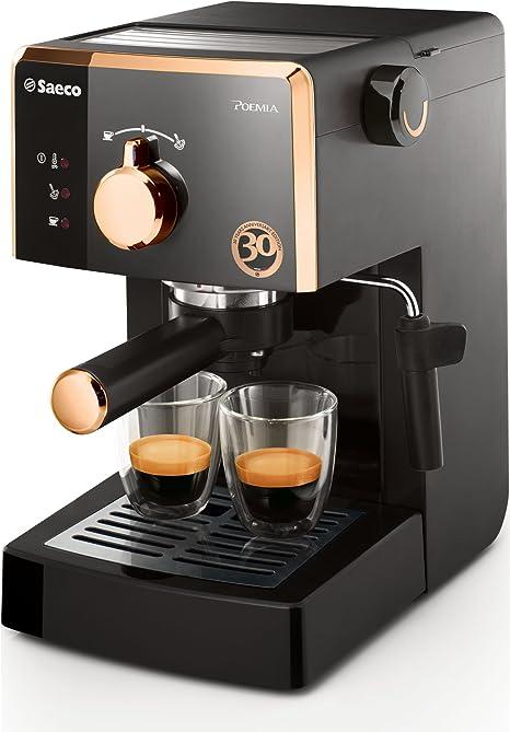 Saeco Poemia Focus HD8425/21 - Máquina de café espresso manual para café molido y monodosis E.S.E., Edición 30 Aniversario, 950 W, color negro y dorado: Amazon.es: Hogar