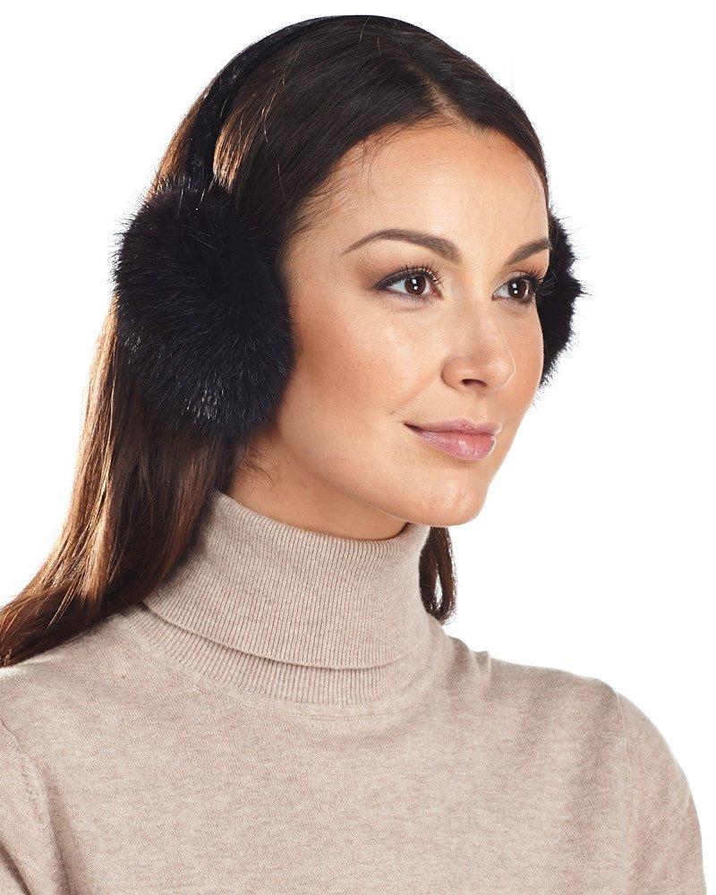 Black Mink Fur Earmuffs with Velvet Band