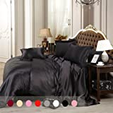 Silky Duvet Cover Set With Flat Sheet Queen Size 4 Piece Silk Like Feeling  Great Lightweight