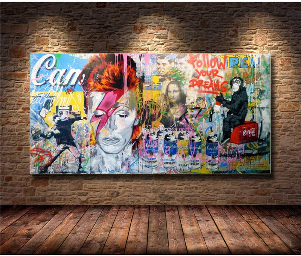 Cuadro En Lienzo,Gorilla Mona Lisa Mezclado Pintura En Tela Graffiti Replica Banksy Arte De Pared Carteles E Imprime Imágenes De Pared para Vivir La Decoración De La Habitación,70X140Cm Sin Marco