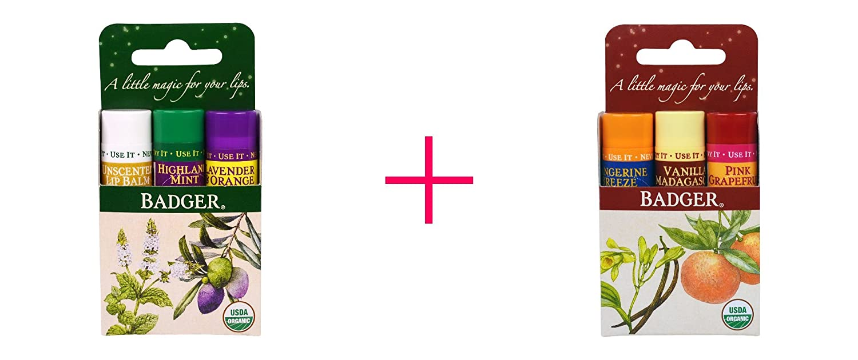 Badger Company, Lip Balm Gift Set, Green Box, 3 Pack, .15 oz Each AND Badger Company, Lip Balm Gift Set, Red Box, 3 Pack, .15 oz Each - BUNDLE