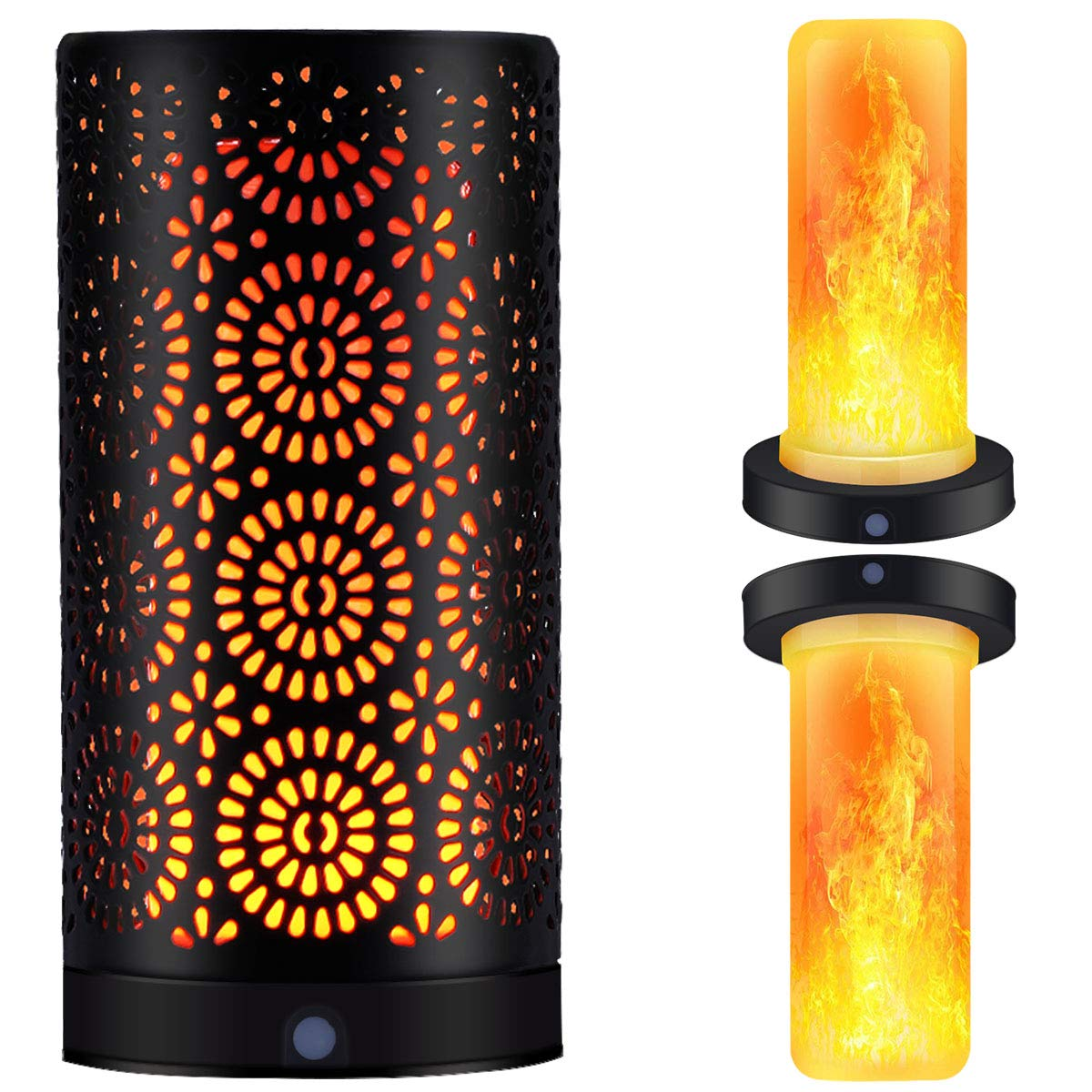 Magnetic LED Flame Effect Light Table Lamp USB Rechargeable Upside Down Fire Stimulated Desk Light Portable Vintage Decoration Light Antique Lantern for Christmas Bar Hotel Restaurants Decorations