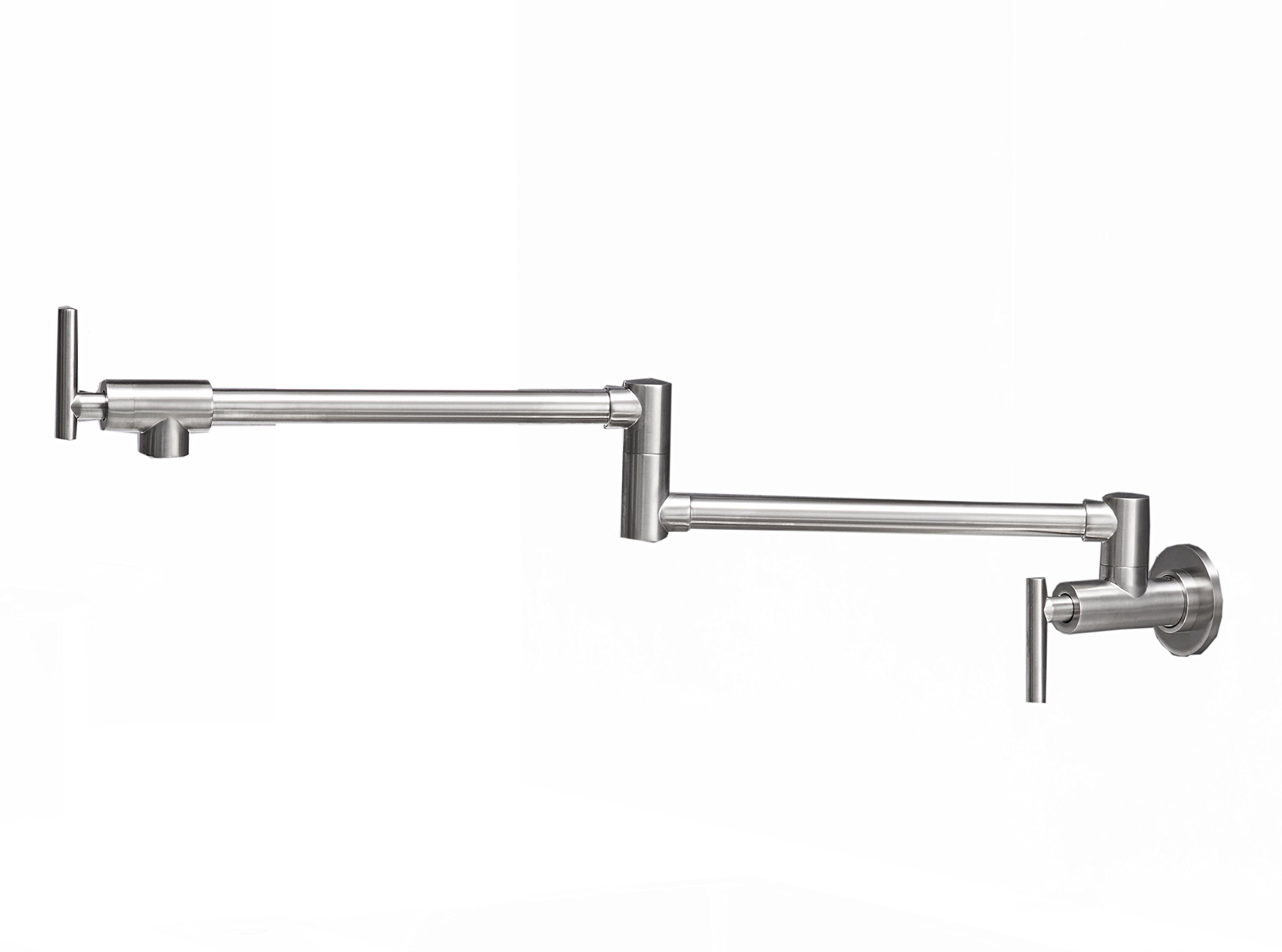 Aquafaucet Brushed Nickel Wall Mounted Pot Filler Kitchen Faucet With Double Joint Swing Arm
