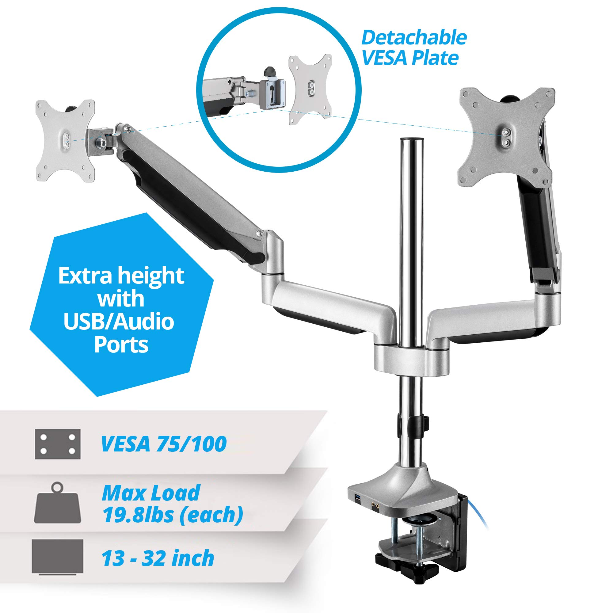 AVLT-Power Extra Height Adjustable Dual Monitor Mount with Two Gas Spring Arms Desk Stand, USB and Audio Ports - Aluminum, Heavy Duty Holds 13'' to 32'' Screens, Up to 19.8 lbs Each, VESA 75/100