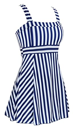 ee1f6678ba00 Image Unavailable. Image not available for. Color: Women's One Piece Sailor  Vintage Swimsuit Tankini Plus Size Cover Up Swimdress