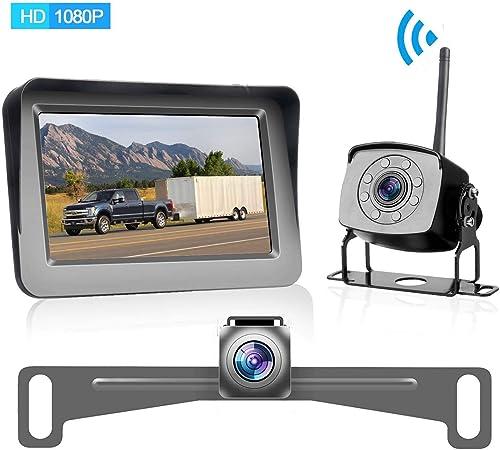 HD 1080P Digital Wireless Dual Backup Camera for Cars Trailers Trucks RVs Motorhomes 5th Wheels 5 Monitor with Highway Monitoring System IP69K Waterproof Super Night Vision