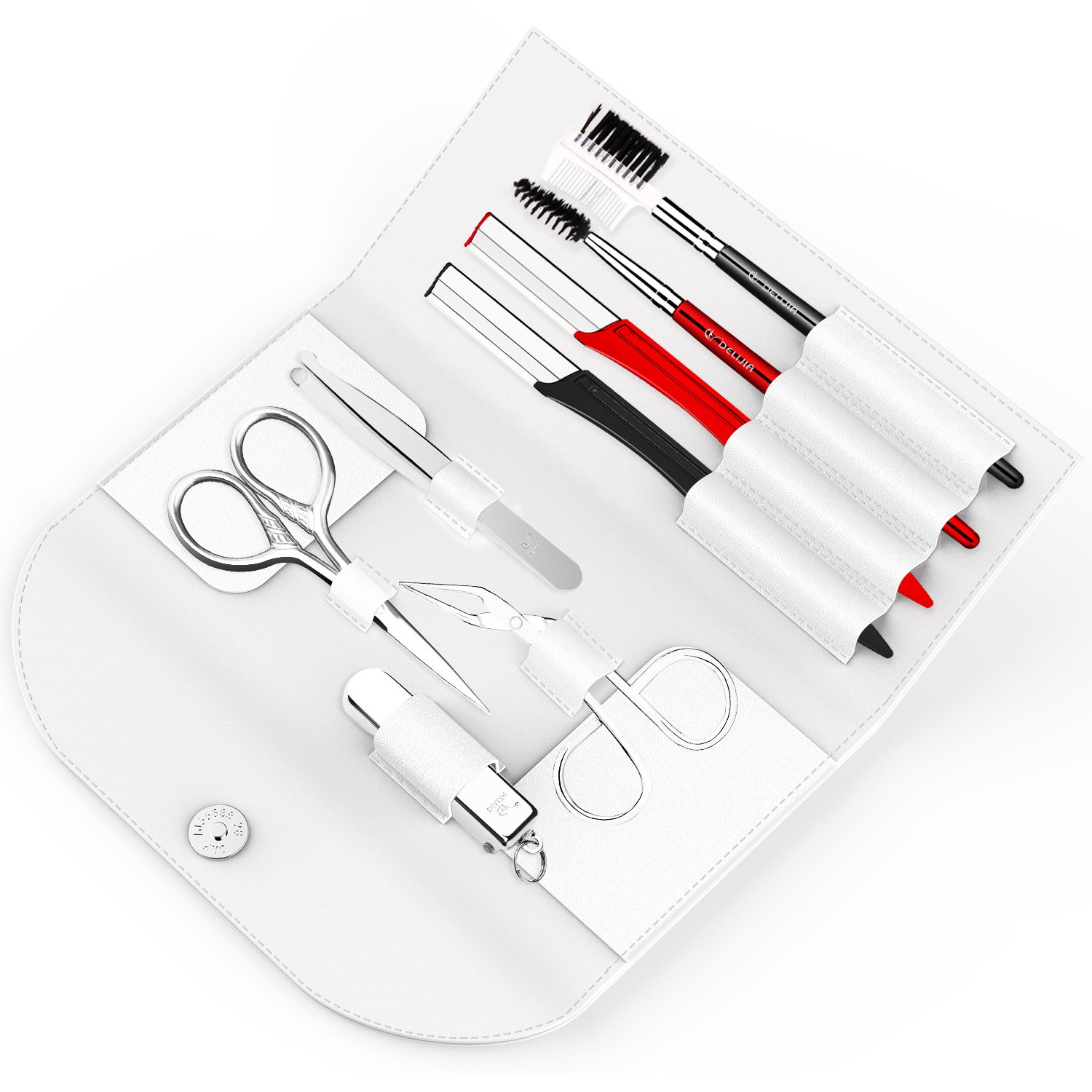 Eyebrow Trimmer Grooming Kit - DELIJIA Eyebrow Trimming Set For Women and Men, Including, Tweezers, Razor, Brush, Scissors, Combs and Nail Clipper, Professional Eyebrow Trimming Kit (black) DELIJIA USA DERECT