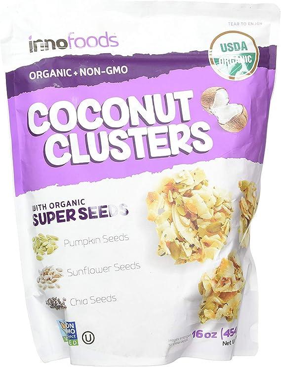 オーガニック ココナッツクラスターズ 500g COCONUT CLUSTERS with ORGANIC SUPER SEEDS innofoods ココナツチップス