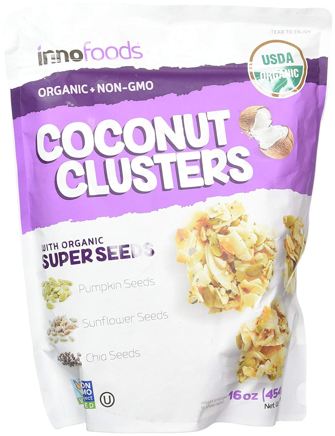 International Delight Innofoods Coconut Clusters With Organic Super Seeds (Pumpkin; Sunflower & Chia Seeds) (Single Bag - 18 Oz.)
