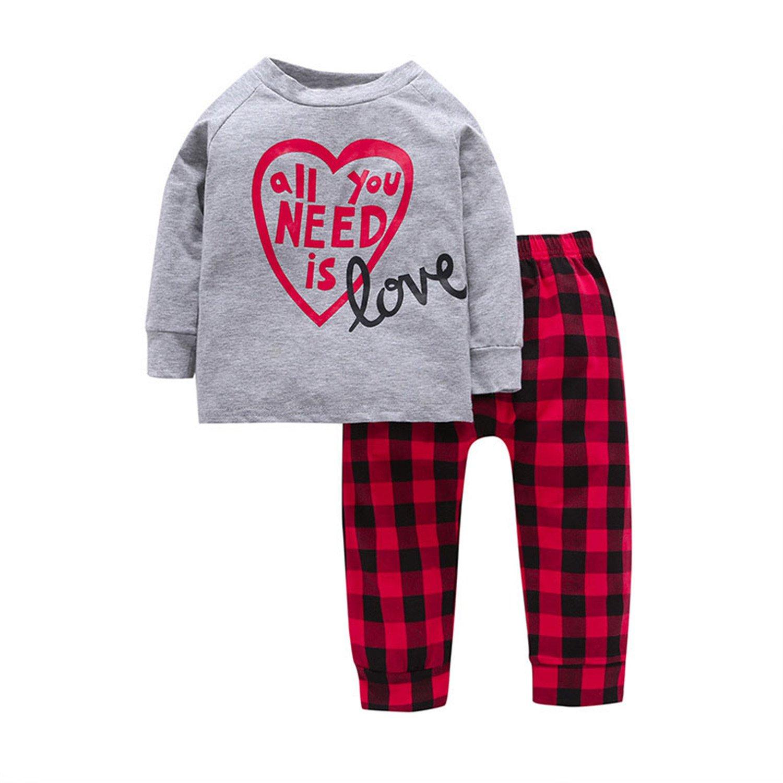 213c7b9fa Amazon.com  Orcan Bluce Autumn Winter Kids Girls Clothes T-shirt+ ...