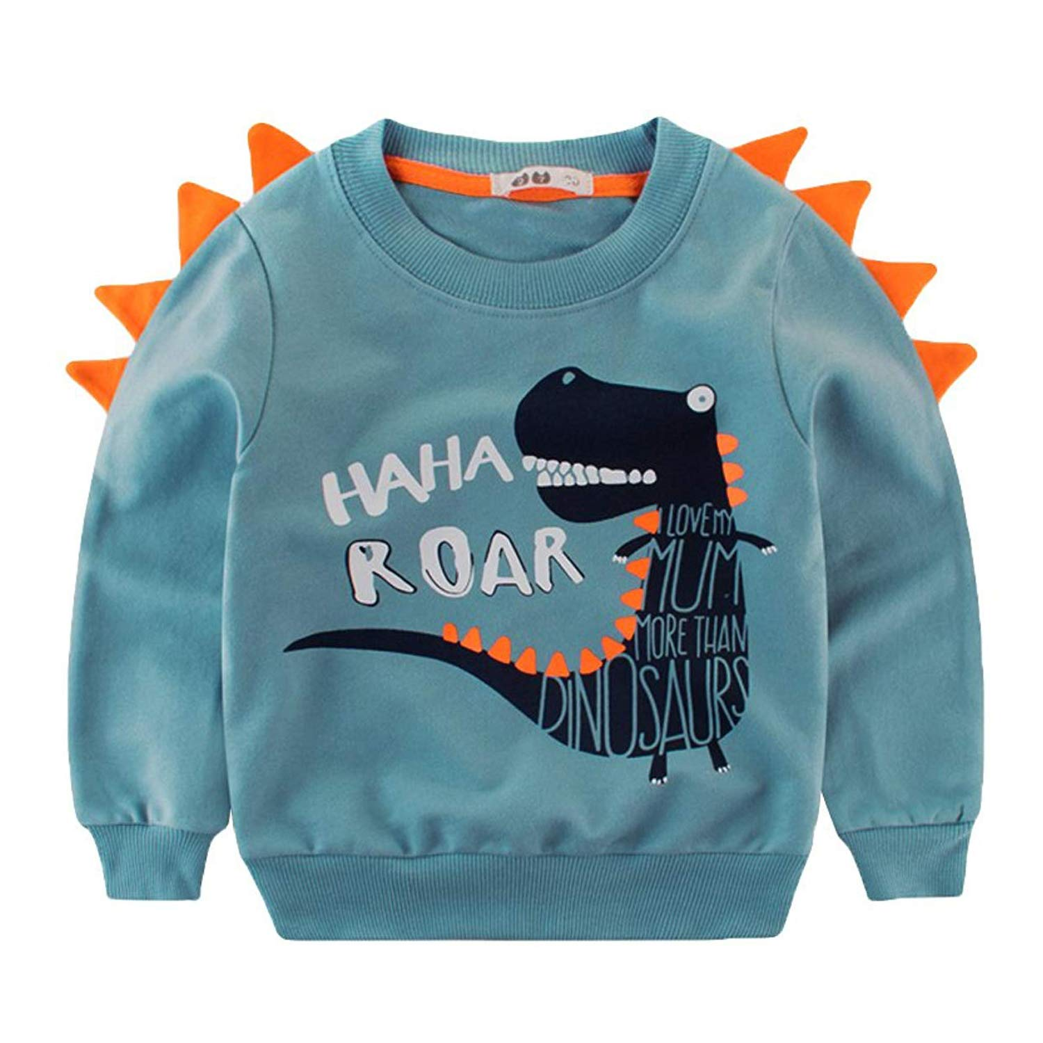 Tecrok Little Boys\' Crewneck Sweatshirt Elephant Dinosaur Print Sport Pullover Top 1-7 Years