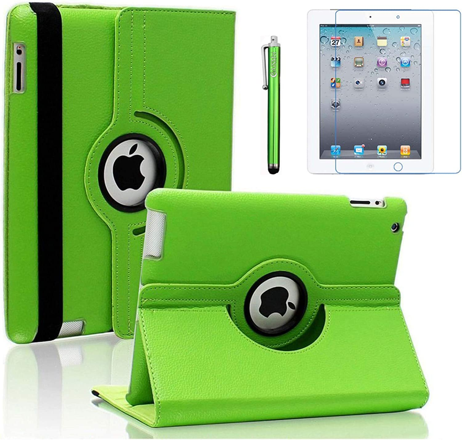 AiSMei Case for iPad 4 (2012), Rotating Stand Case Cover for 9.7'' Apple iPad A1395, A1396, A1397, A1403, A1416, A1430, A1458, A1459, A1460, Bonus Stylus + Film, Green
