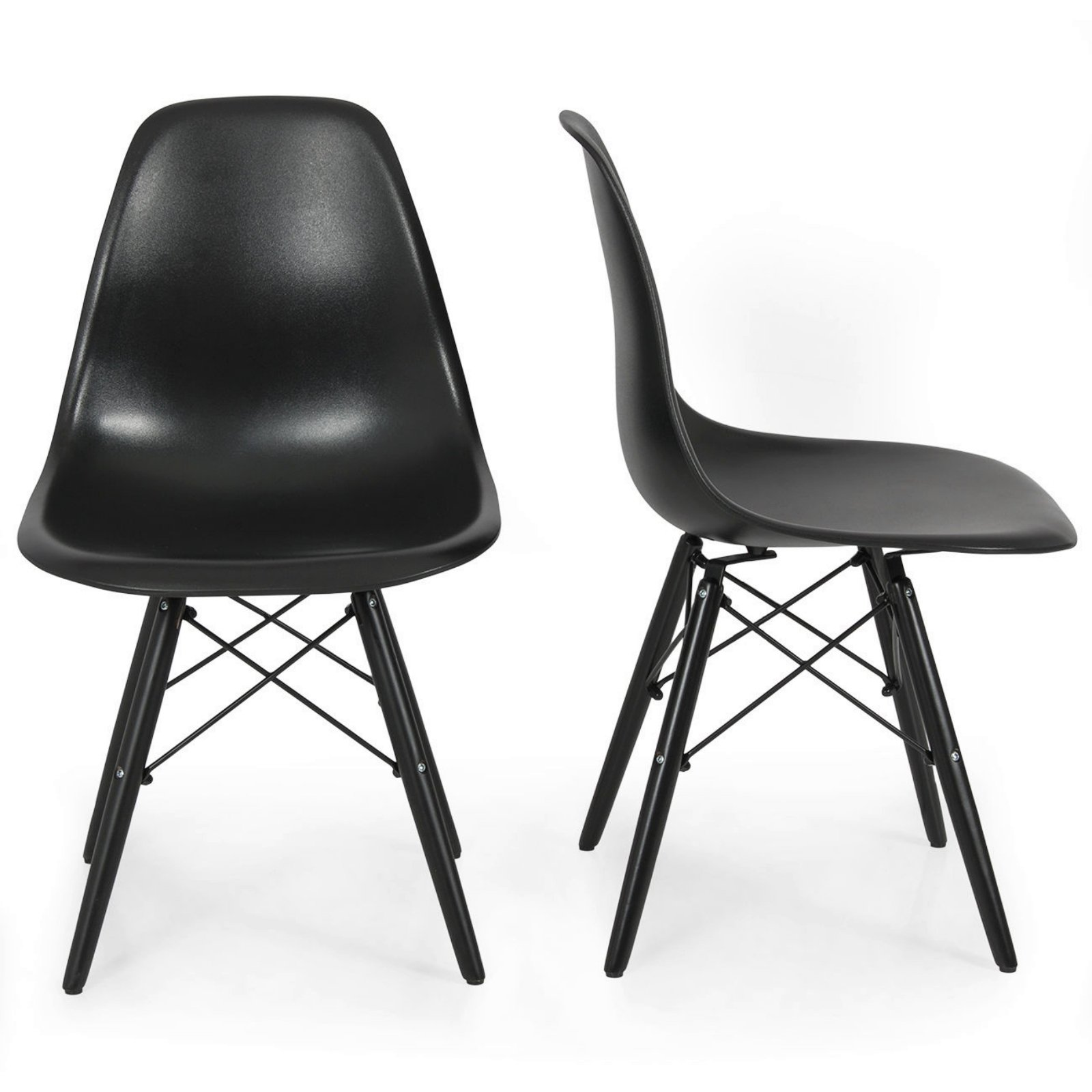 Set of 2 Mid Century Modern Style Eco-Friendly Materials Dining Side Chair Black W/ Black Wood #262