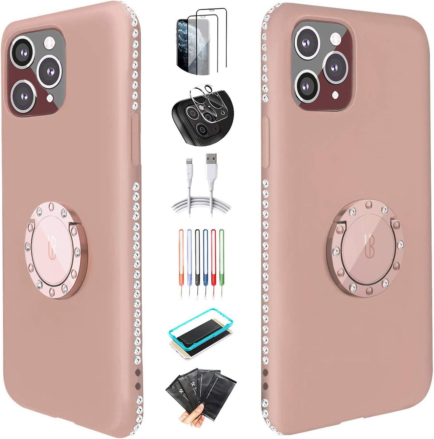 [Super Giveaways] UBUNU Silicone iPhone 12 Pro Max Case for Women, Liquid Silicone Glitter Bling Rhinestone Bumper with Ring Kickstand Grip Holder Cute iPhone 12 Pro Max Case 6.7 inch - Sandy Pink