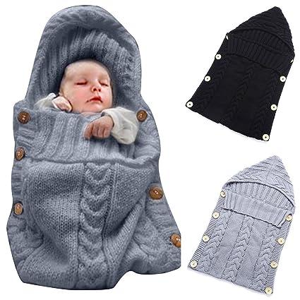 Bebé recién nacido Wrap Swaddler manta personalizado de punto suave saco de dormir (gris)