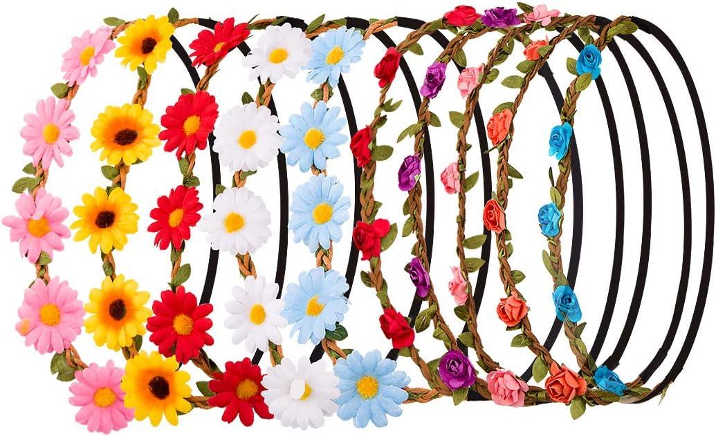 Scattare Fotografie Matrimonio Coroncina di Fiori Accessori per Capelli per Donne Adatto per Spiaggia SenPuSi 10 Pezzi Multicolore Ghirlande Fasce del Fiori con Il Nastro Elastico Regolabile
