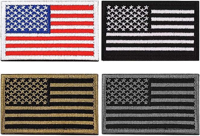 FaithHeart 4 Piezas Parches Apliques Sticker Decorativo Poliéster Bordado para Vaqueros Ropa Camisa Bolsas Gorras Brazal Velcro Rectangular Bandera America Estados Unidos: Amazon.es: Hogar