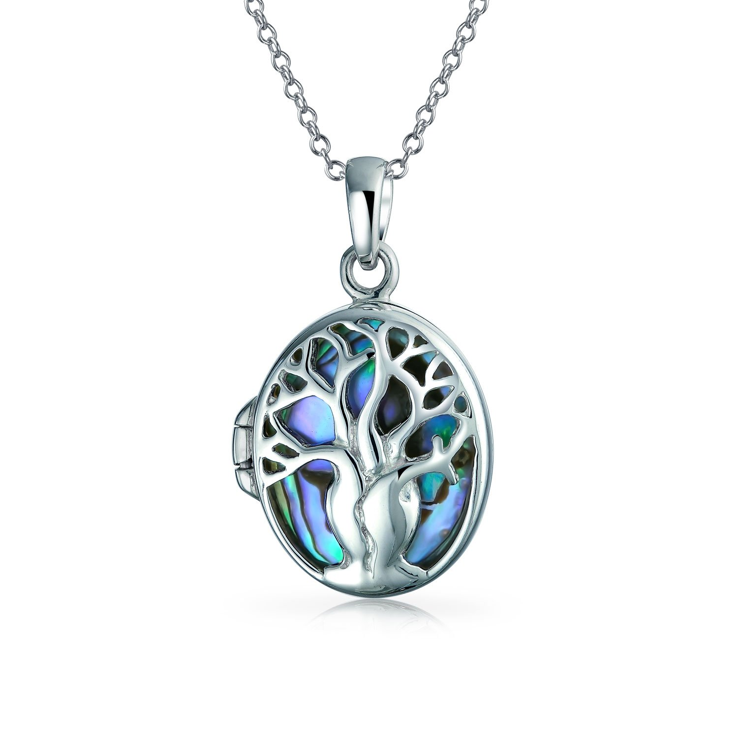 .925 Silver Abalone Shell Tree of Life Pendant Locket Necklace Bling Jewelry EAM-TSP7165