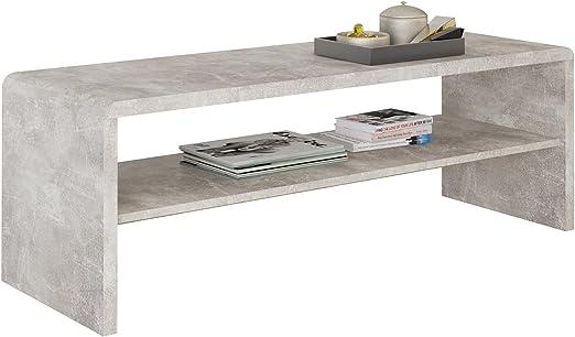 Idimex Table Basse Noelle Table De Salon Rectangulaire Ou Meuble Tv De 120 Cm Avec 1 Etagere Espace De Rangement Ouvert En Melamine Decor Beton