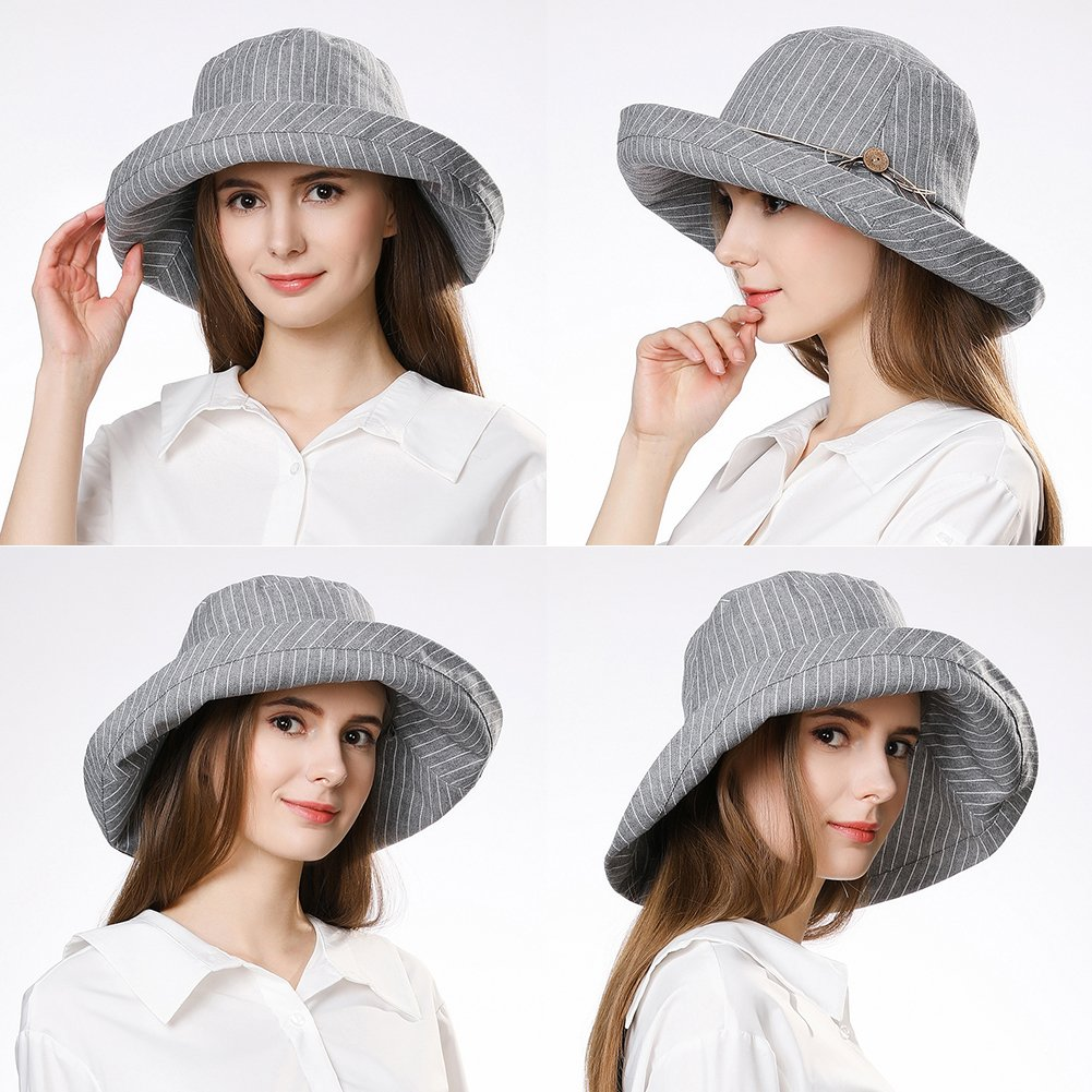Fancet Foldable Sun Bucket Hat Women Rolled Up Brim Boating Hiking UV Protection Bonnie Gardening Grey by Fancet (Image #5)